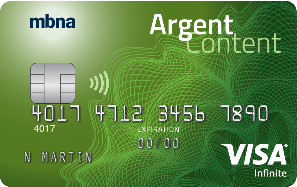 CARTE VISA INFINITE MBNA(<sup>MD</sup>) Argent Content